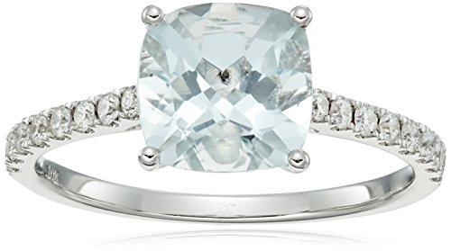 10k White Gold Aquamarine Cushion and Diamond Solitaire Ring (1/4 cttw H-I Color, I1-I2 Clarity), Size 7