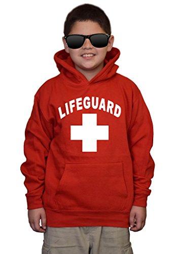Youth Lifeguard V489 Red kids Sweatshirt Hoodie Small