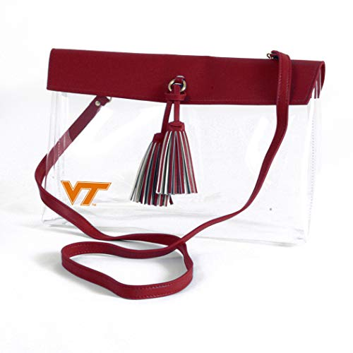 (Desden Virginia Tech Hokies Clear Handbag with Logo, Vegan Leather Trim and Tassels)