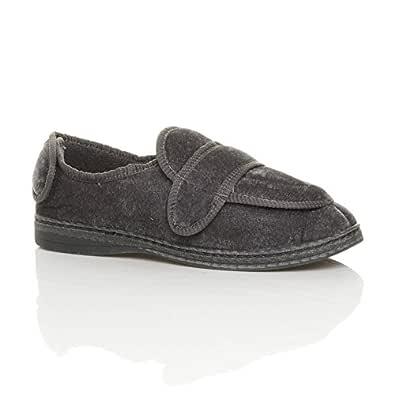 Ajvani Men's Diabetic Orthopaedic Memory Foam Wide Fit Adjustable Slippers Size 7 41 Grey