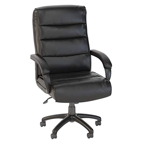 Bush Business Furniture Soft Sense High Back Leather Executive Office Chair in Black ()