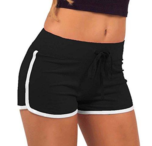 Corto Traspirante Nero Hot Sudore Coulisse Fitness Assorbimento Jogging del Estivo con Casual da Patchwork Pants Pantaloni Shorts Yoga Donna gxnqwvY4