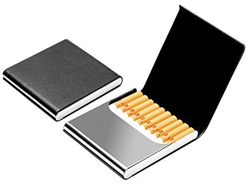 Ultrathin Design Pocket Carrying Cigarette Box Case for Hold 10 Regular Size (Black)