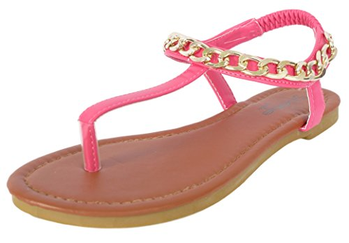 ec3c568b8e99 Galleon -  Bebe Girls   Chain Link Strap Fuchsia Thong Sandals