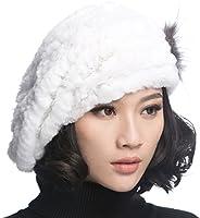 URSFUR Winter Women's Rex Rabbit Fur Beret Hats with Fur Fl