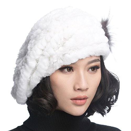 URSFUR Winter Women's Rex Rabbit Fur Beret Hats with Fur Flower (White) ()