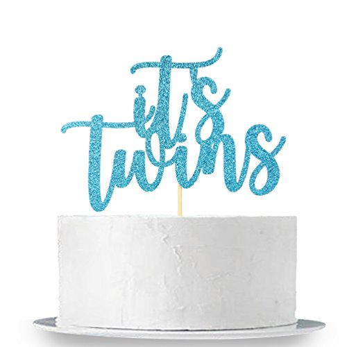 Blue Glitter It's Twins Cake Topper -Twin Baby Shower First Birthday Party Decoration Supplies