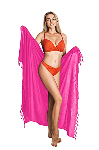 CHAINUPON Hot Pink Sarong Cover Up Womens Beach Swimsuit Bikini Pareos Wrap Skirt