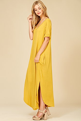 Mustard Short Split Neck V Dresses with Long Pockets Maxi Sleeve Women's Annabelle aPpwXn