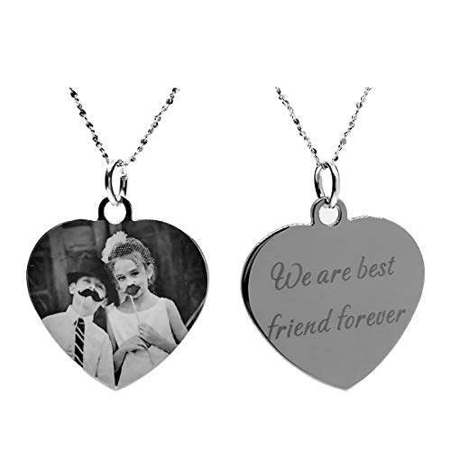 - Civbalen Custom Photo Necklace Heart Shaped Personalized Message Pendant Valentine's Day Birthday Gift (Black and White 20