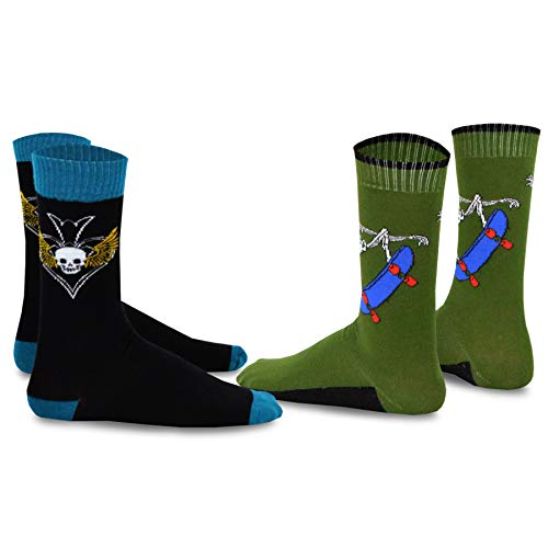 Skull Shoe Skateboard - TeeHee Skull Skateboard Athletic Cotton Crew Socks 2 - Pair Pack for Men , Olive, Black 10 -13