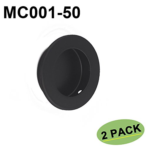 Black Flat Pulls Flush (2 Pack Black Circular Flush Door Pull Recessed Sliding Door Handles - Homdiy MC001-50BK Pocket Door Hardware Pulls Round 2in Diameter Cabinet Closets Door Finger Pull Stainless Steel)