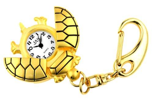 JAS Unisex Novelty Belt Fob/Keychain Watch Turtle Gold Tone