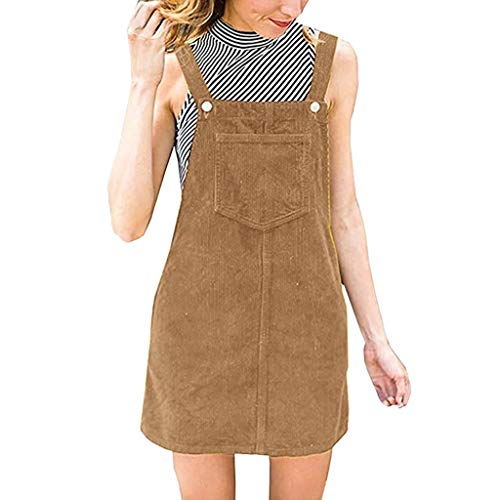 (Pervobs Women Corduroy Straight Suspender Mini Bib Overall Pinafore Casual Pocket Dress Blouse(US: 4, Brown))