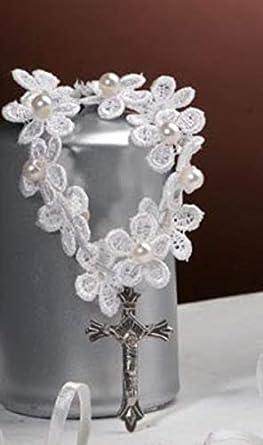 12 piezas pulsera rosario blanco de macramé y perlas bombonera comuniones