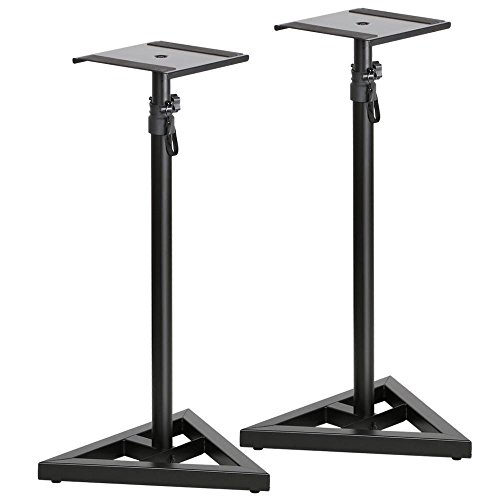 Heavy Duty Steel Construction Monitor Speaker Adjustable Height Stands Great For Use In Home, Studio, Concert And Other - Point Sydney Center