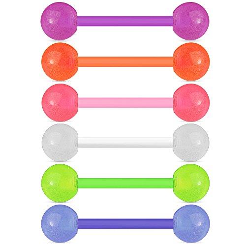 BodyJ4You 6PC Nipple Bars Tongue Barbell Glow in Dark 14G Multicolor Bioflex Set Body Piercing Rings -
