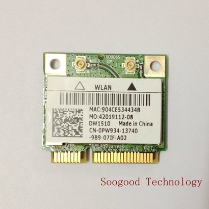 DW1510 AGN BCM94322 Half Dual-band N Pci-e Wirless WLAN Card 802.11a/g/n 2.4G & 5G for Laptops & Netbooks by b.m.c