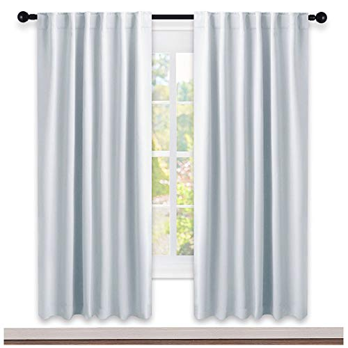 NICETOWN Blackout Curtains and Draperies for Living Room - (Greyish White/Gray Color) 52 inch Wide by 72 inch Long, Set of 2 Pieces, Insulated Solid Drape Panels