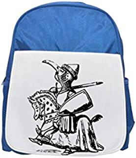 A snobbish knight parading on a horse. printed kid's blue backpack, Cute backpacks, cute small backpacks, cute black backpack, cool black backpack, fashion backpacks, large fashion backpacks, black fa