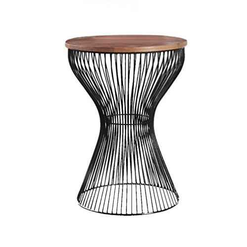 QARYYQ Continental Simple Small Side Wrought Iron Round Corner A Few Solid Wood Living Room Small Coffee Table Sofa Side Table Modern Glass Side Small Coffee Table