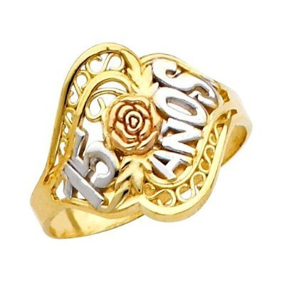 Fine 14k Tri-Color Gold Sweet 15 Anos Flower Quinceanera Ring (11.5) by Quinceanera Jewelry (Image #2)