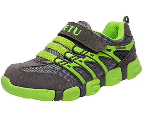 Green Boys Strap - DADAWEN Boy's Girl's Athletic Strap Breathable Running Shoes Casual Sneakers (Toddler/Little Kid/Big Kid) Gray/Green US Size 3.5 M Big Kid/EU Size 37