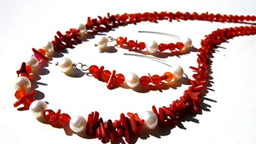 Stick Coral red Carnelian white freshwater pearls necklace and earrings