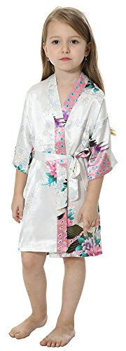 JOYTTON Girls' Satin Kimono Robe for Spa Party Wedding Birthday (10,White) ()