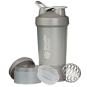 BlenderBottle ProStak - Botella de agua y mezcladora (1 x 650ml, 2 recipientes 150ml & 100ml,  1 recipiente para las grageas) Pebble