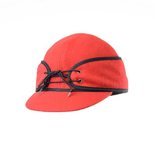 Crown Cap Wool Blend Solid color Railroad Cap, Red, 7.875