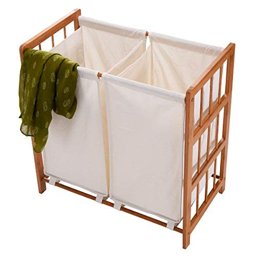 barebear70 New Household Bamboo Frame Laundry Sorter Hamper Clothes Storage Basket Bin w/Bag