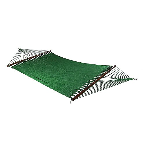 Green Polyester Hammock (Sunnydaze Large 2 Person Soft-Spun Polyester Rope Hammock with Spreader Bars, Green, 600 Pound)