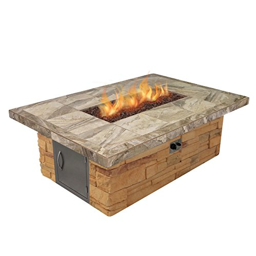 Cal Flame FPT-RT501M-APF Cultured Stone and Tile Rectangle Propane Gas Fire Pit with Log Set and Lava Rocks - Gas Coal Burner