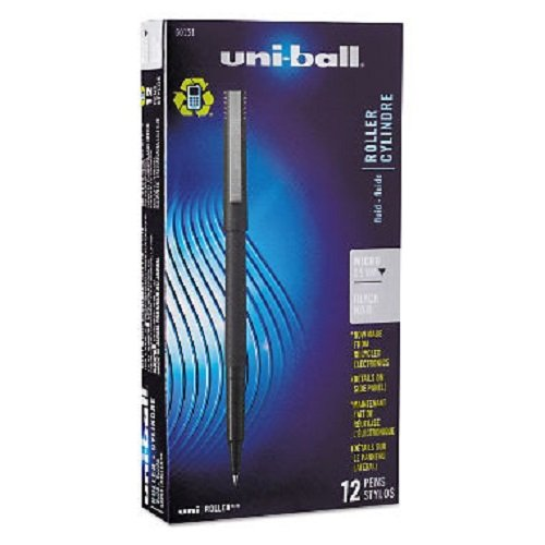 Nonrefillable Pens Ink Black (Sanford Uniball Roller Stick Pen, 0.5mm Micro Point, Black Ink, Dozen (60151))