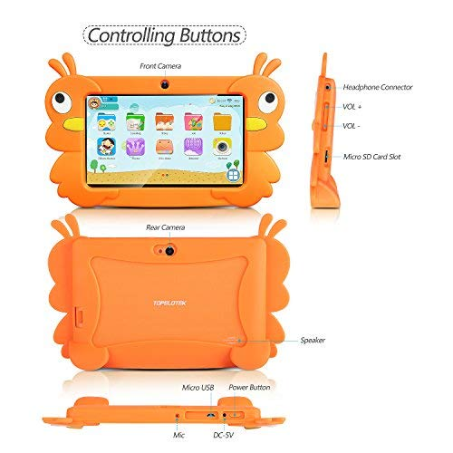 Kids Tablet Android 7 incht Quad Core Kids Edition Tablet with Bluetooth WiFi Dual Camera, HD Kids Edition Tablet Parental Control 1GB/16GB Storage