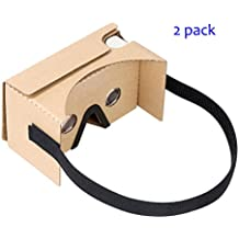 Google Cardboard V2 by IHUAQI with Headstrap 2 Pack Fully Assembled Compatible with Android and iPhone Up to 6inch including Comfortable Nose Foam and Forehead Pad