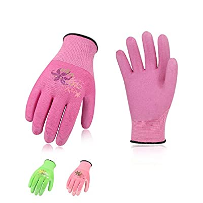 Vgo… 3Pairs Foam Rubber Coating Gardening and Work Gloves (Red+Green+Pink,RB6013)