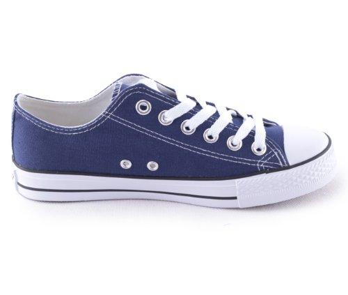 Mixmatch24 Damen Canvas Leinwand Sneaker Basic Low in verschiedenen Farben - Zapatos de cordones de lona para mujer azul - Dk. Blue