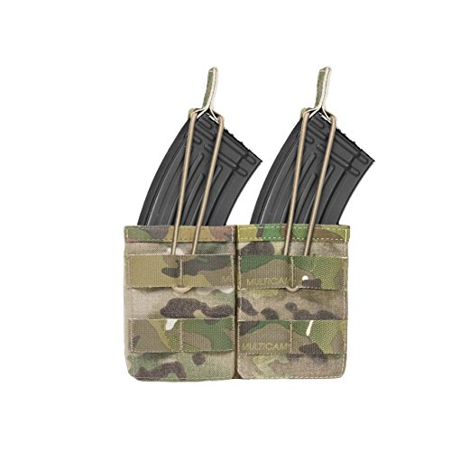 Warrior Assault Systems Bungee Retention Double MOLLE Open AK 7.62mm Mag Pouch (2 Magazine), Multicam (Warrior Assault Systems Low Profile Chest Rig)