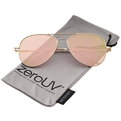 zeroUV Small Matte Metal Rose Gold Pink Mirror Flat Lens Aviator Sunglasses, Matte Gold / Pink Mirror, 56 - Aviators Rose Gold