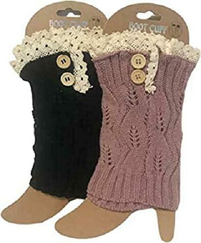 2 Pack Women Crochet Knitted Button Boot Cuffs Leg Warmer - random colors