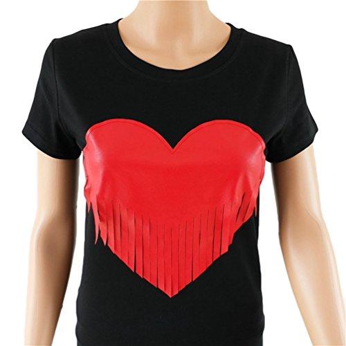 WanYang Mujeres De Verano La Manga Corta Del Corazón Borla Del Cuello Redondo Impresos Camisetas Tops Negro