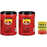 Folgers Classic Roast Ground Coffee 2 Piece AromaSeal Canisters and Cafe Bustelo Espresso Ground Coffee Can