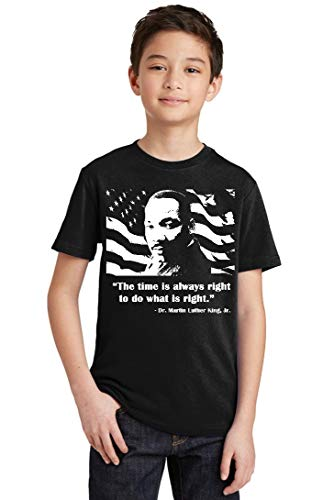 Do What is Right MLK Jr Inspirational Quote Youth T-Shirt, Youth S, Black