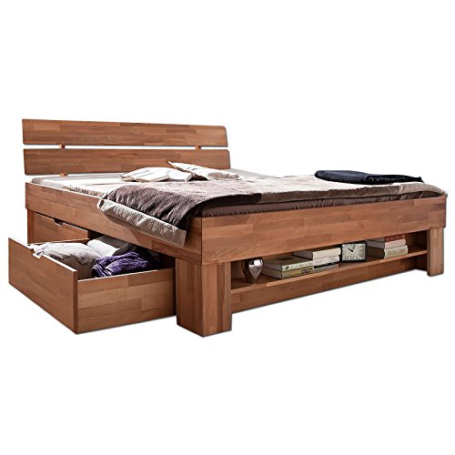 futonbett sofie 140 x 200 cm holz bett aus buche massiv kernbuche ge lt naturholz bett mit. Black Bedroom Furniture Sets. Home Design Ideas