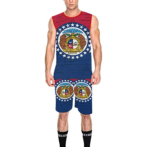 Lumos3DPrint Missouri State Flag Men's Basketball Jersey Tank Top and Shorts