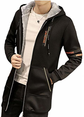 Mens Black Winter Warm Fleece Trench Hooded Patchwork today UK Coat Lined OxH755