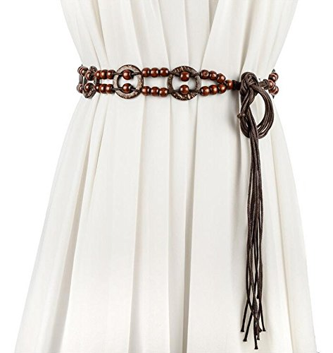 Women Bohemian Chain Wood Waist Belt With Dress and Sweater Knotted Decorated (Model E)