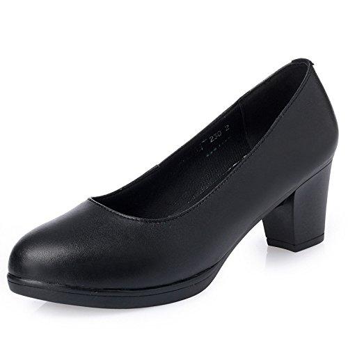 Frauen Mitte Court Toe Büro Heels Bequeme Schuhe Schuhe Arbeit Schwarz Kitten Hochzeit Closed On Slip ErCrqx